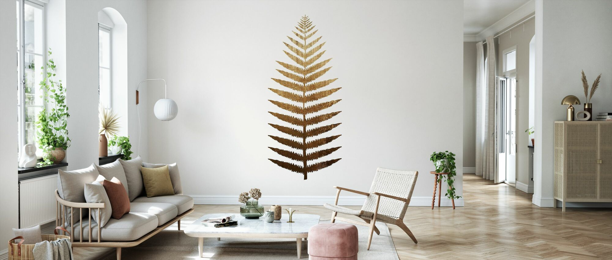 Gouden blad - Behang - Woonkamer