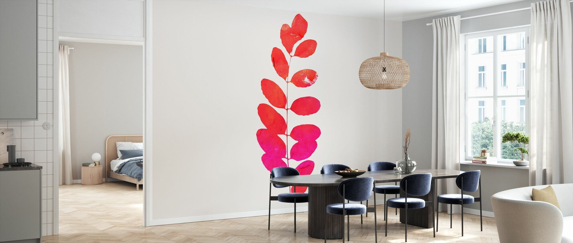 Blad Print - Roze - Behang - Keuken