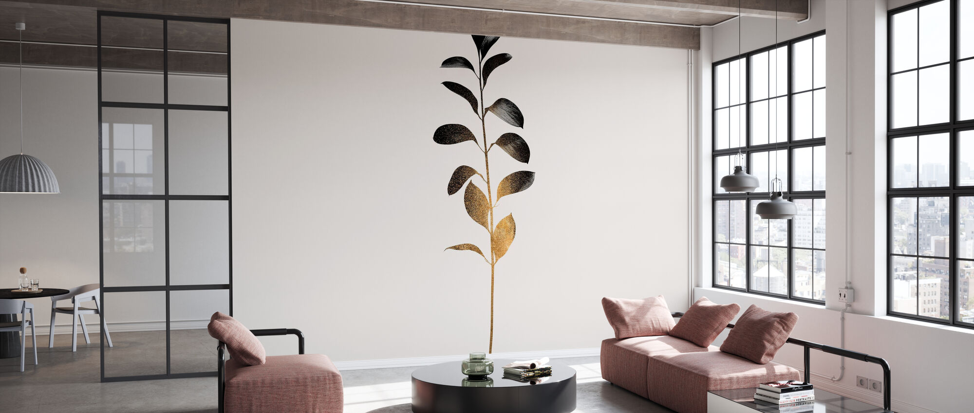 Monochromatica Donker Goud - Behang - Kantoor