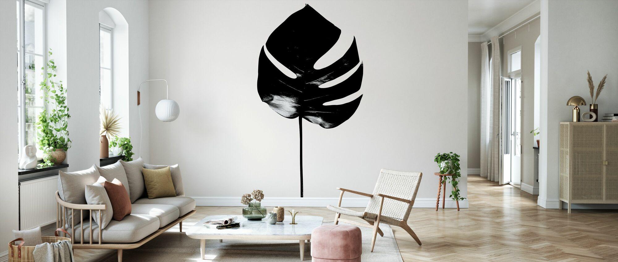 Monstera - Zwart - Behang - Woonkamer