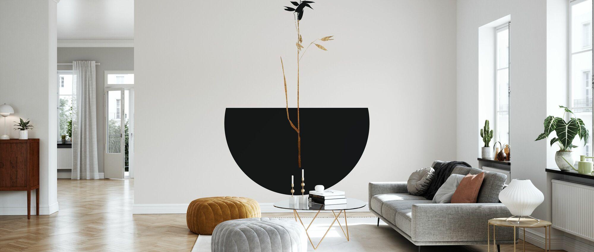 Zwarte Plant - Behang - Woonkamer