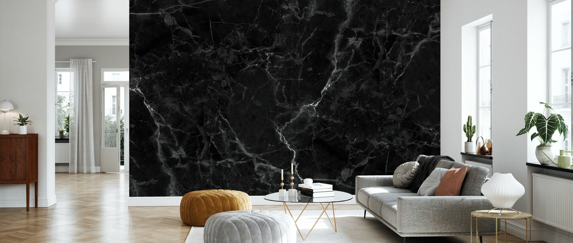Black Marble - Wallpaper - Living Room