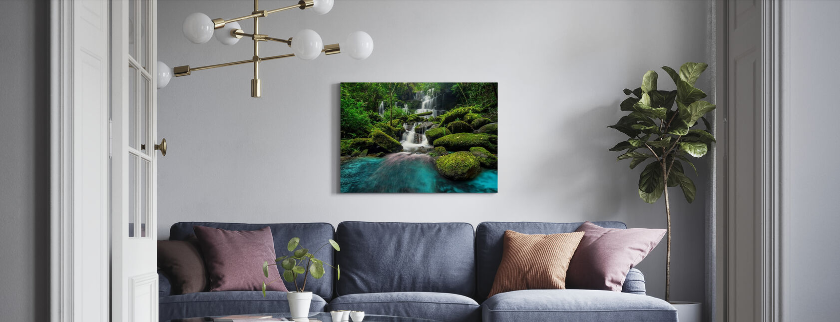 Waterfall in Green Forest - Canvas print - Living Room