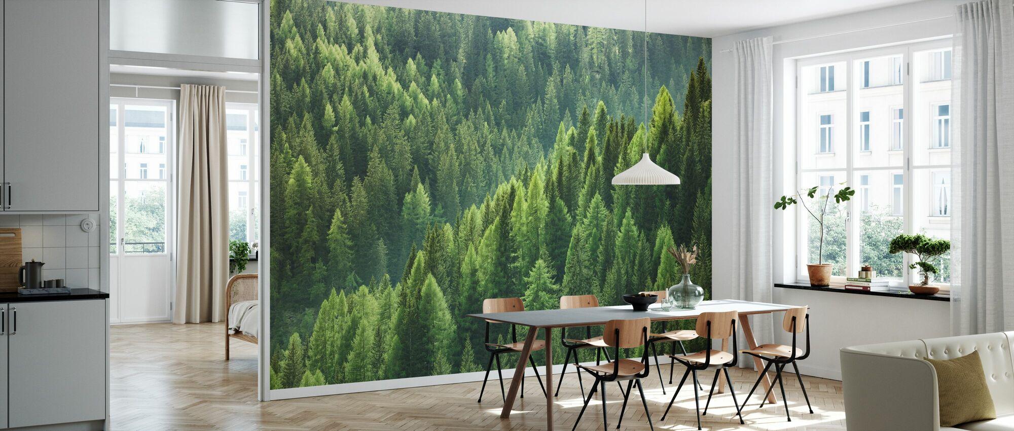 Groene bomen in het bos - Behang - Keuken