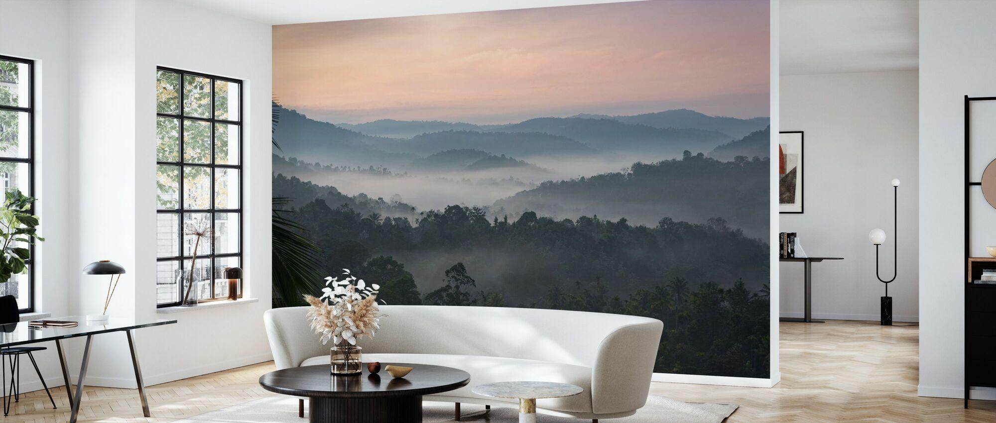 Misty Hills at Sunrise - Wallpaper - Living Room