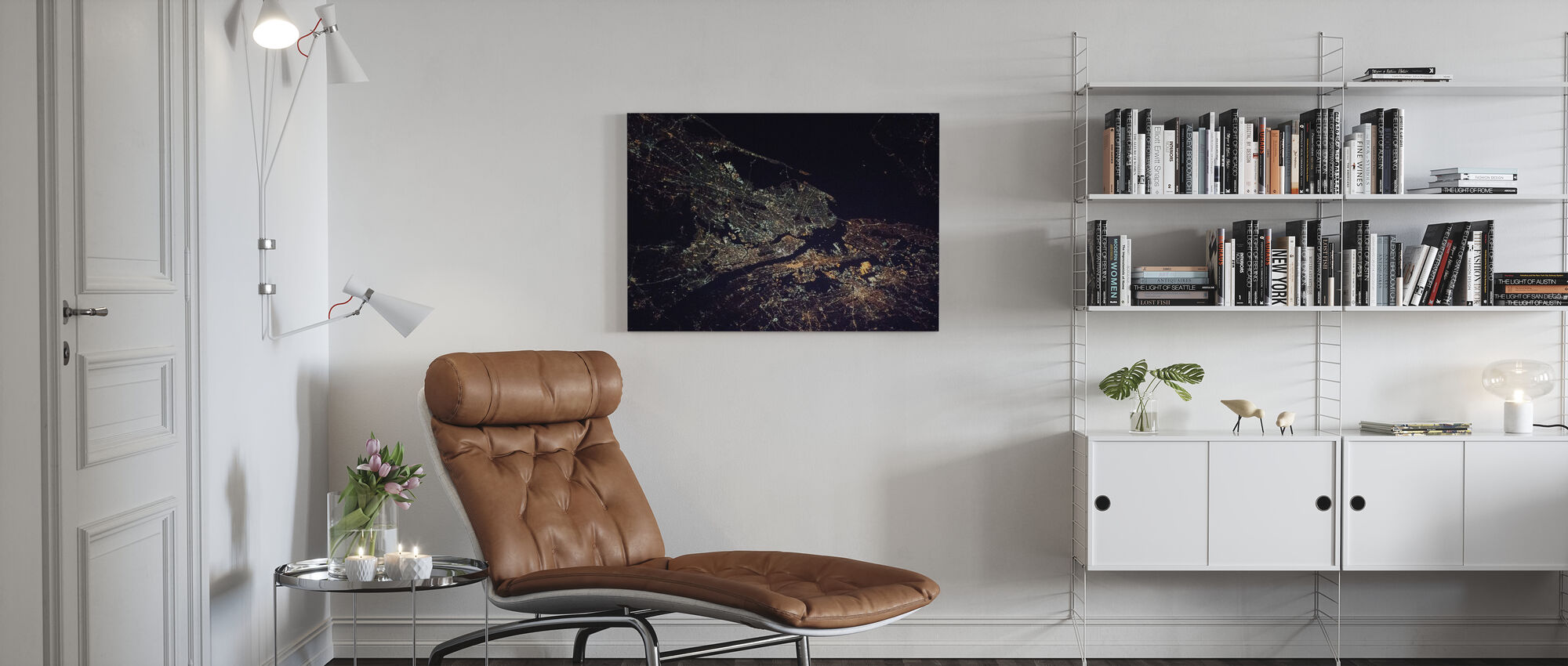 New York City Night Space - Canvas print - Living Room