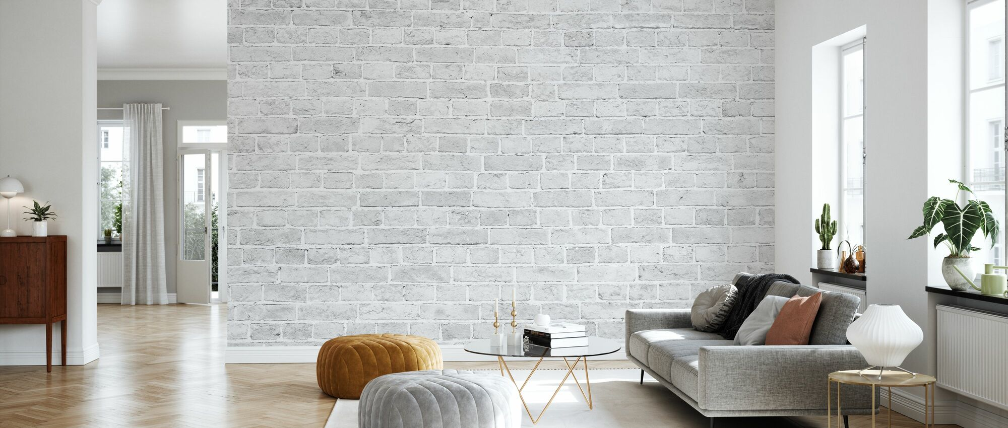 Witte Wash bakstenen muur - Behang - Woonkamer