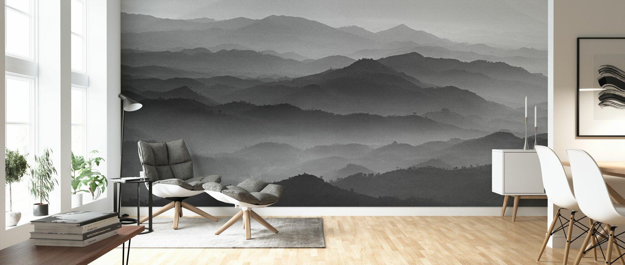 Mountains - Bw - Wallpaper - Living Room