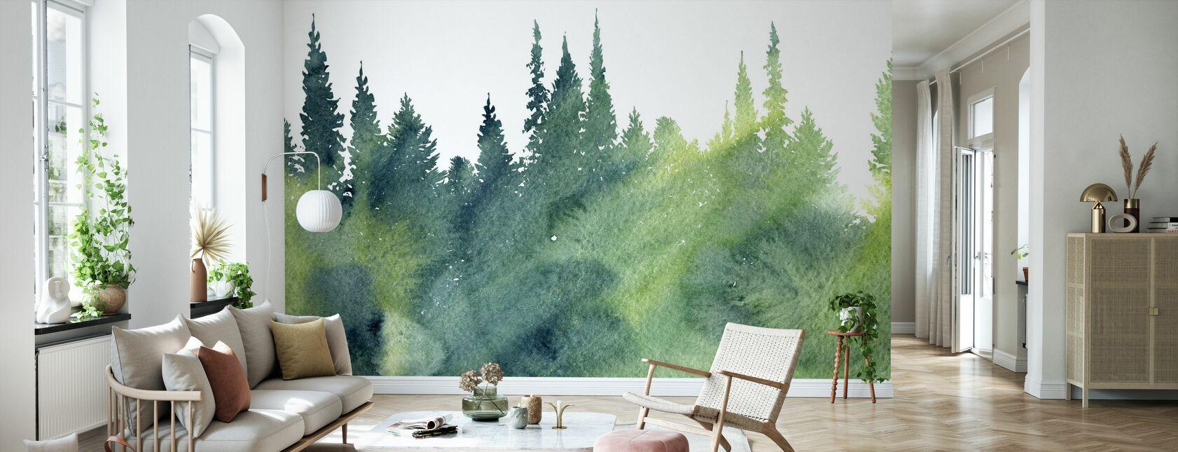 Akvarell Träd - Tapet - Vardagsrum