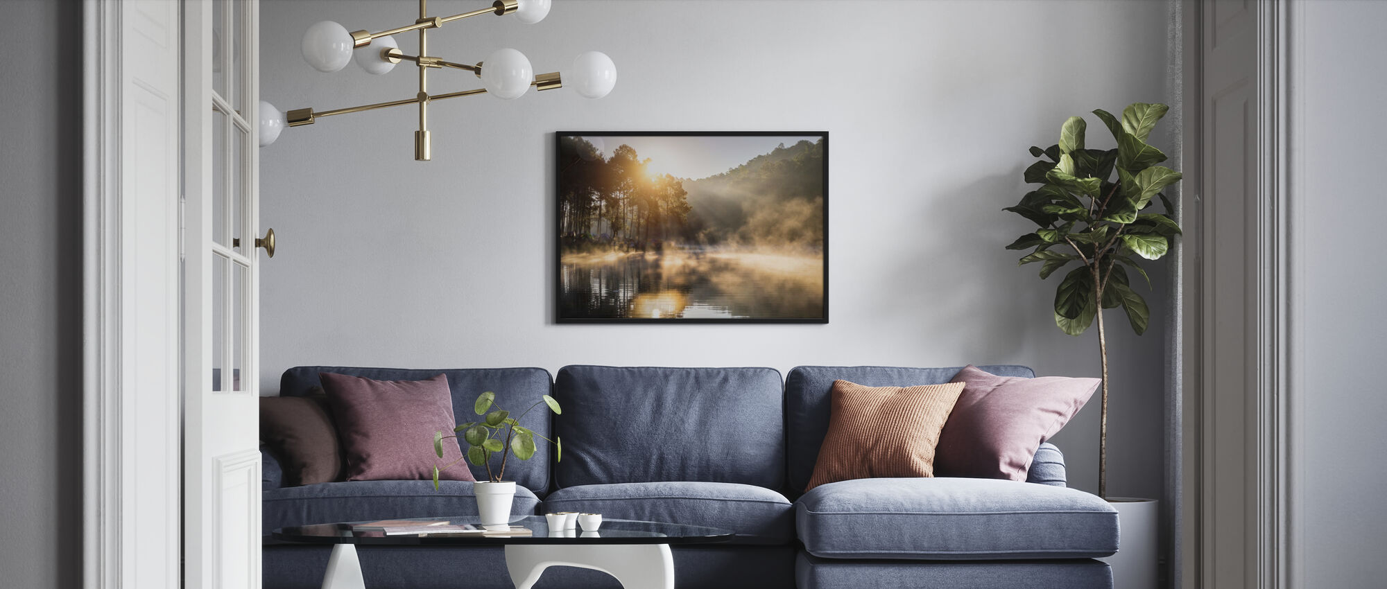 Camping in the Pine Forest - Poster - Living Room