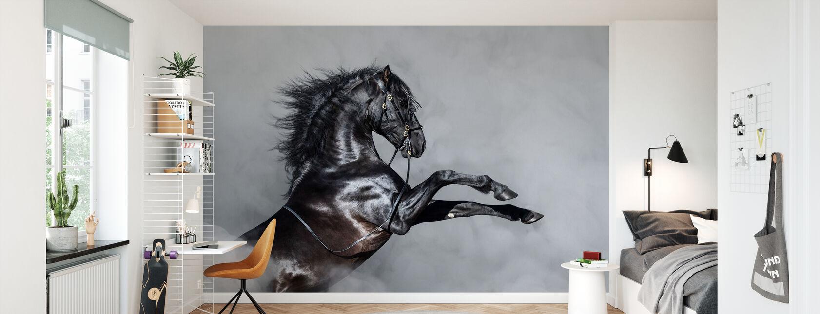 Horse Rearing in Smoke - Wallpaper - Kids Room