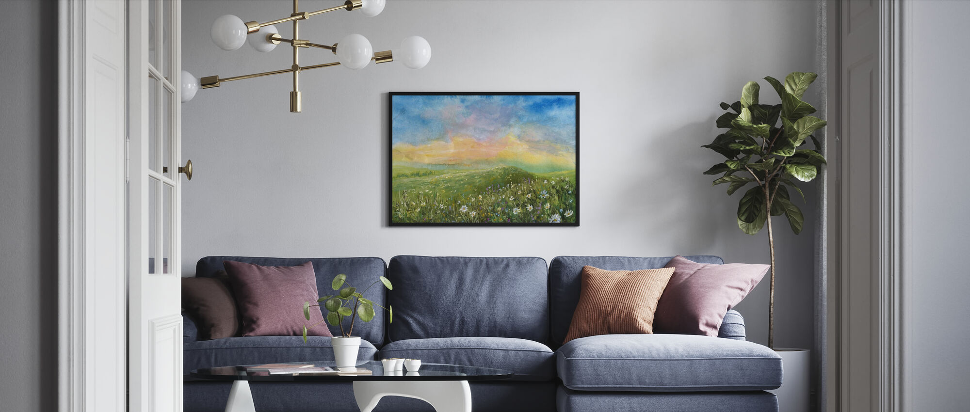 Watercolor Blooming Valley - Poster - Living Room