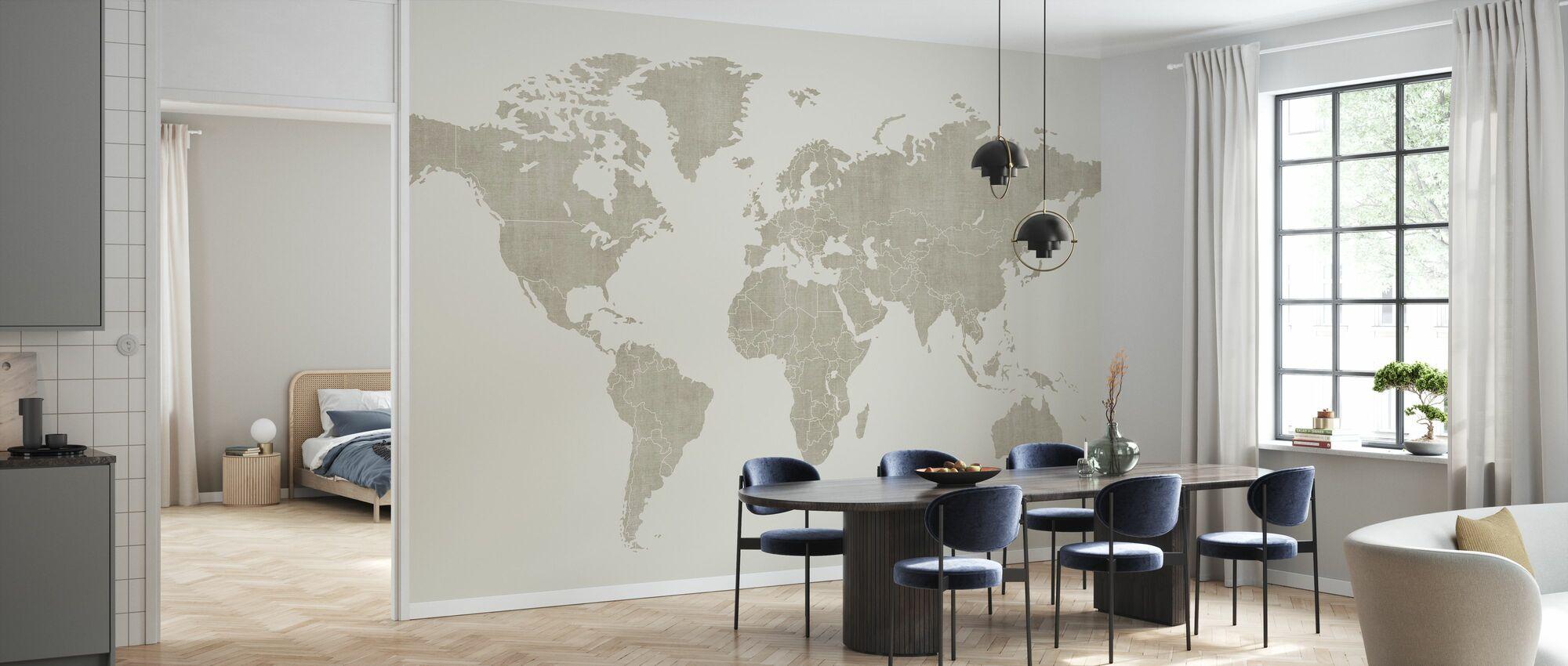 Voguish Mappa del mondo - Beige - Carta da parati - Cucina