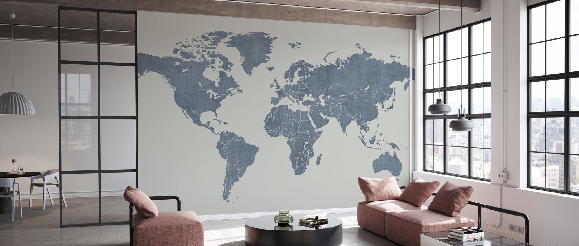 Voguish Weltkarte - Blau - Tapete - Büro