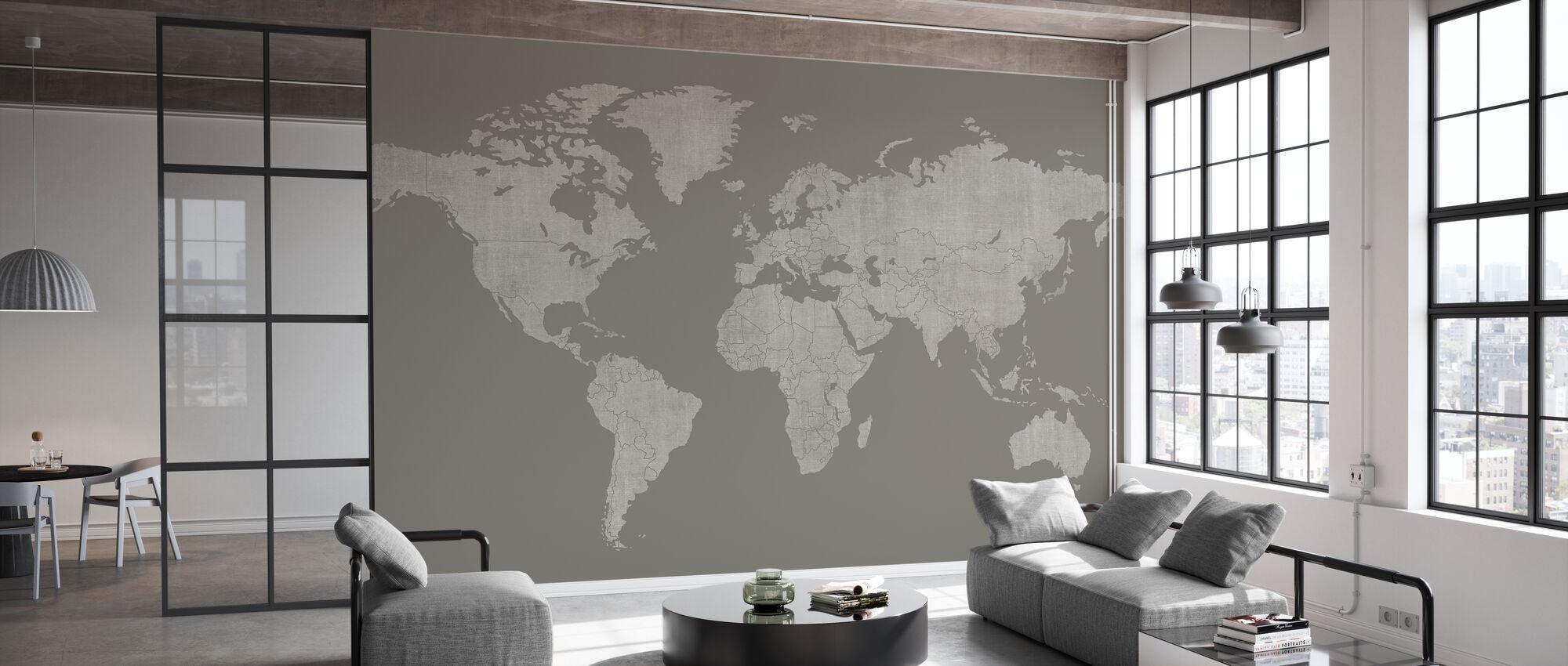 Voguish Weltkarte - Braun Grau - Tapete - Büro