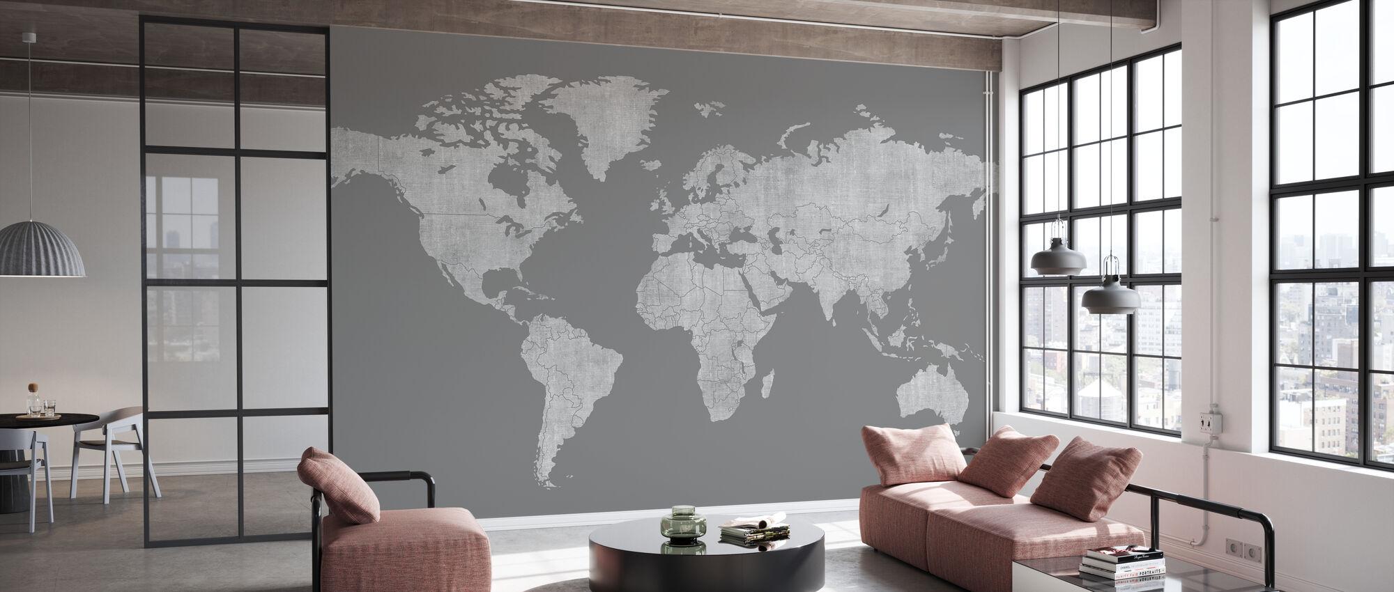 Voguish Weltkarte - Dunkelgrau - Tapete - Büro