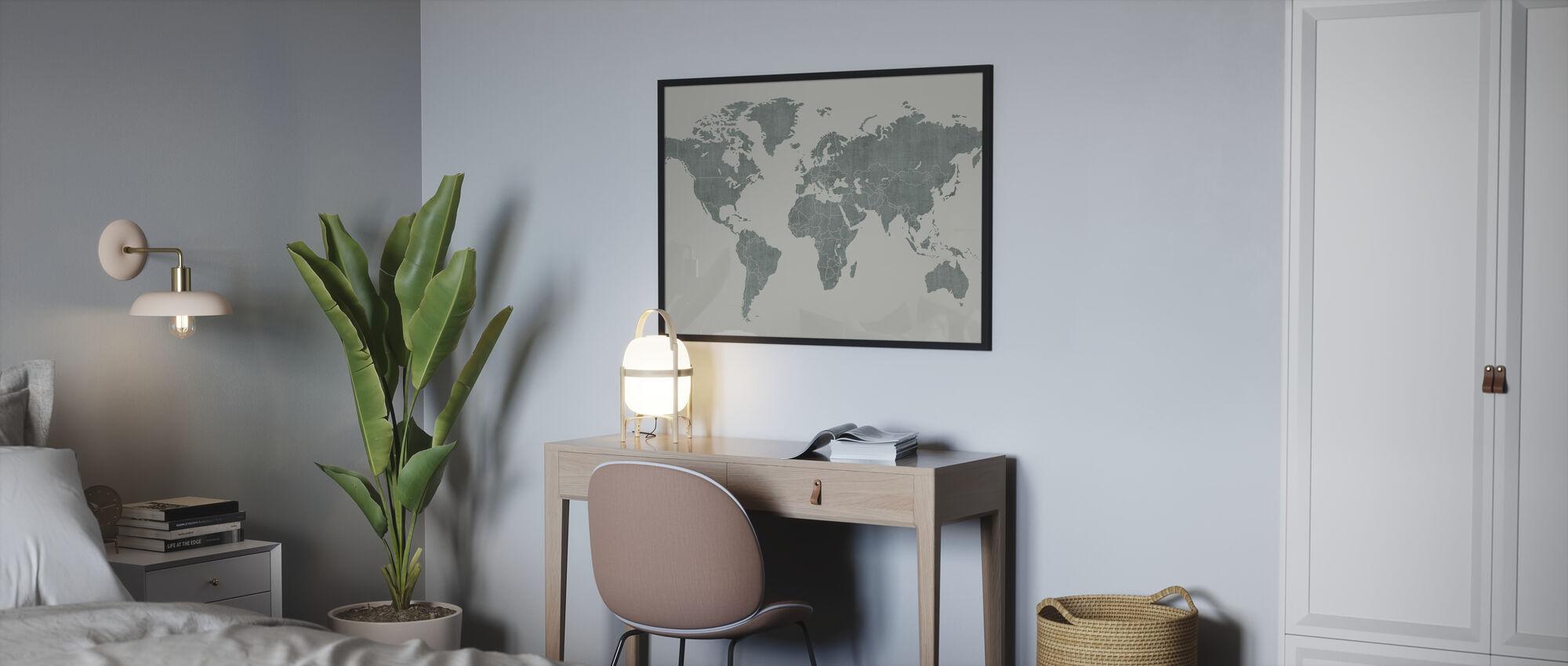 Voguish Wereldkaart - Groen - Poster - Slaapkamer