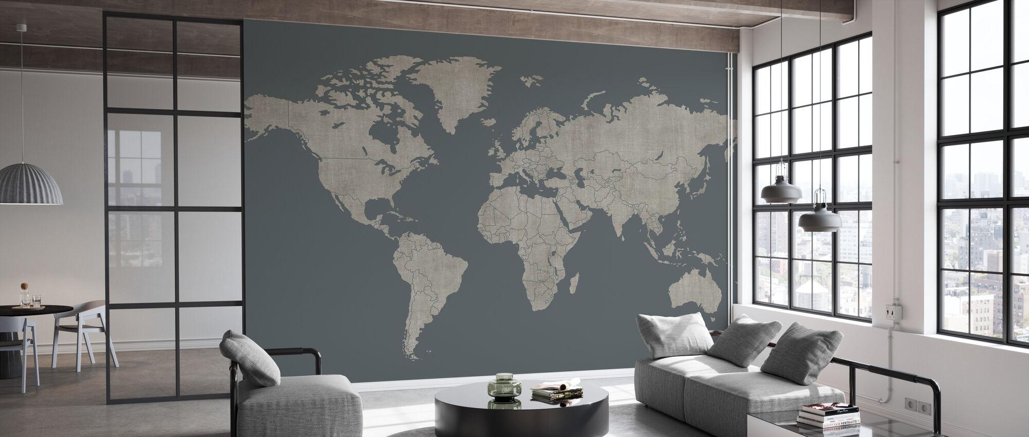 Voguish Weltkarte - Grün Grau - Tapete - Büro
