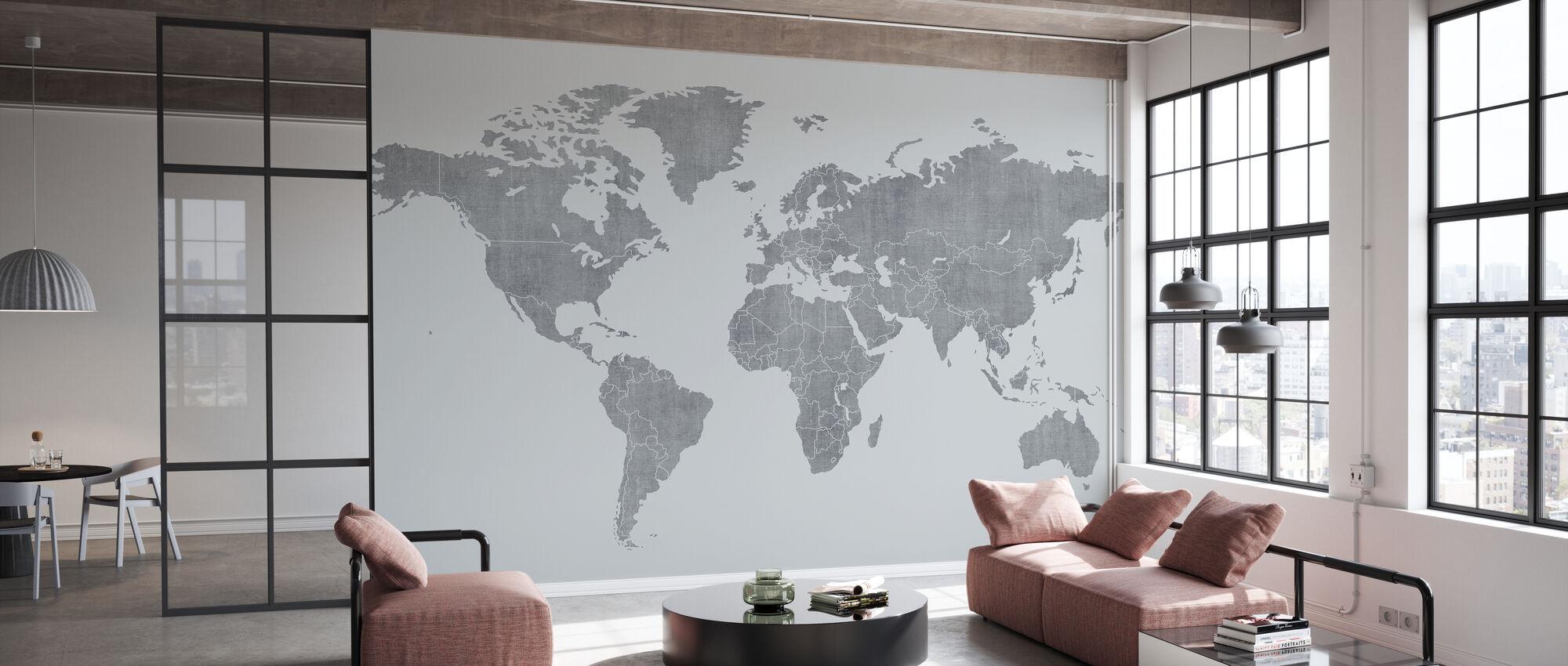 Mapa świata Voguish - Jasnoszary - Tapeta - Biuro