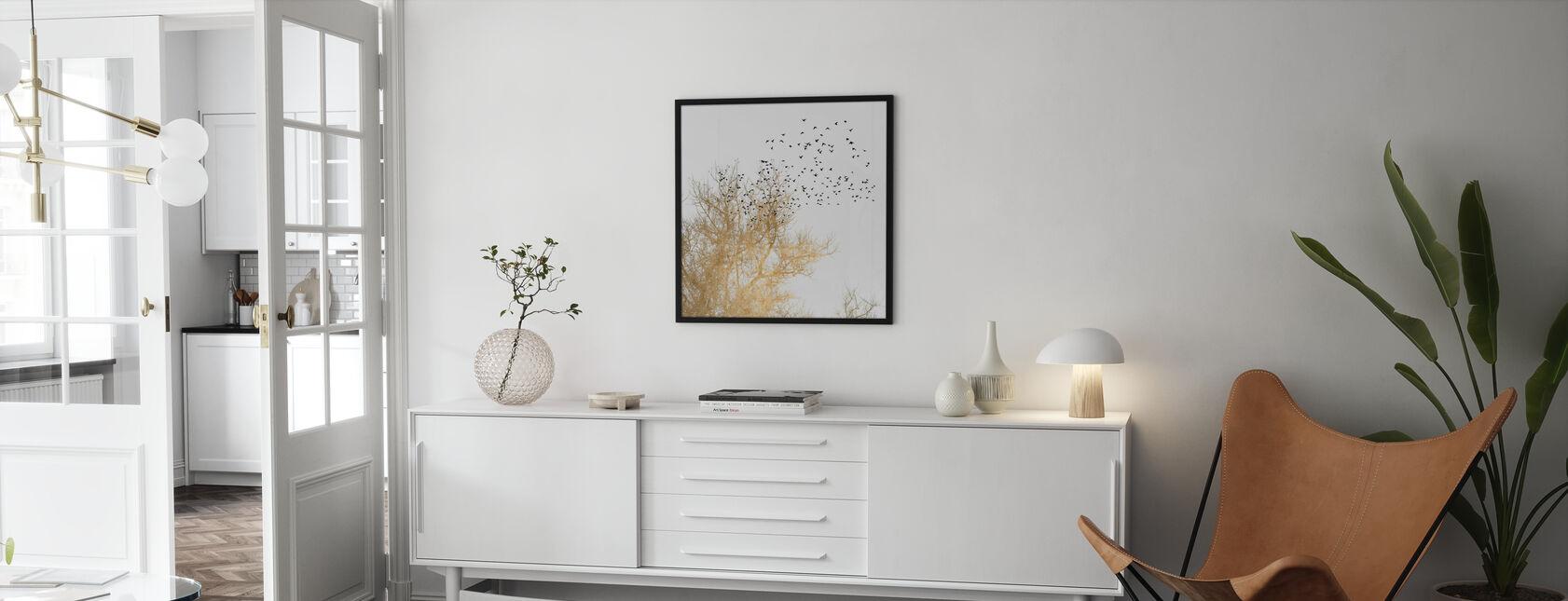 Kultaiset linnut - Kehystetty kuva - Olohuone