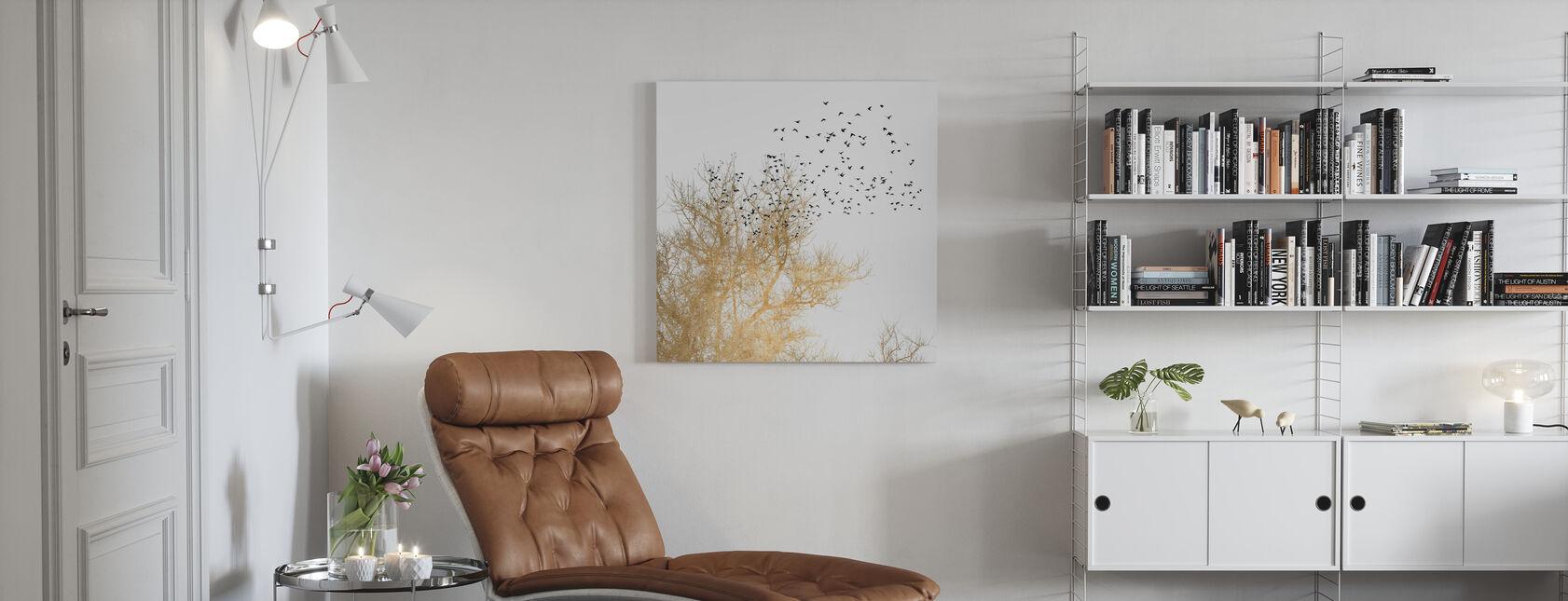 Gyldne Fugle - Billede på lærred - Stue