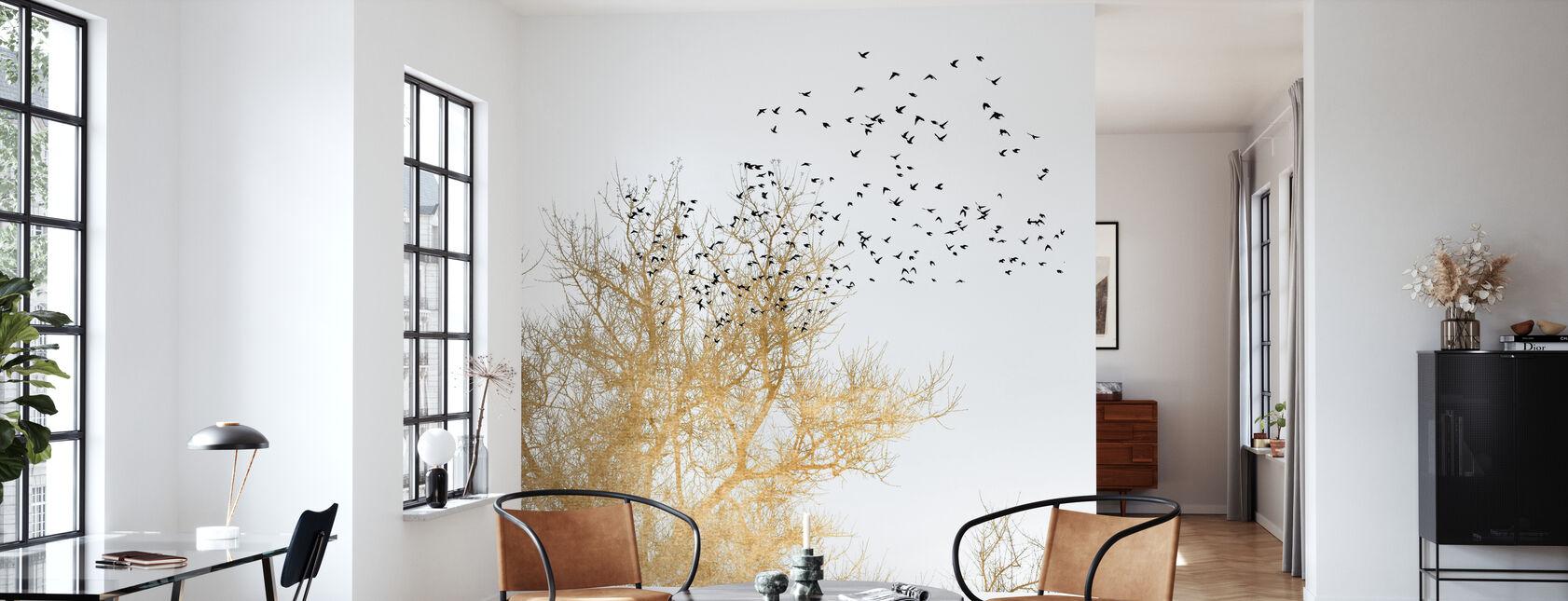 Goldene Vögel - Tapete - Wohnzimmer