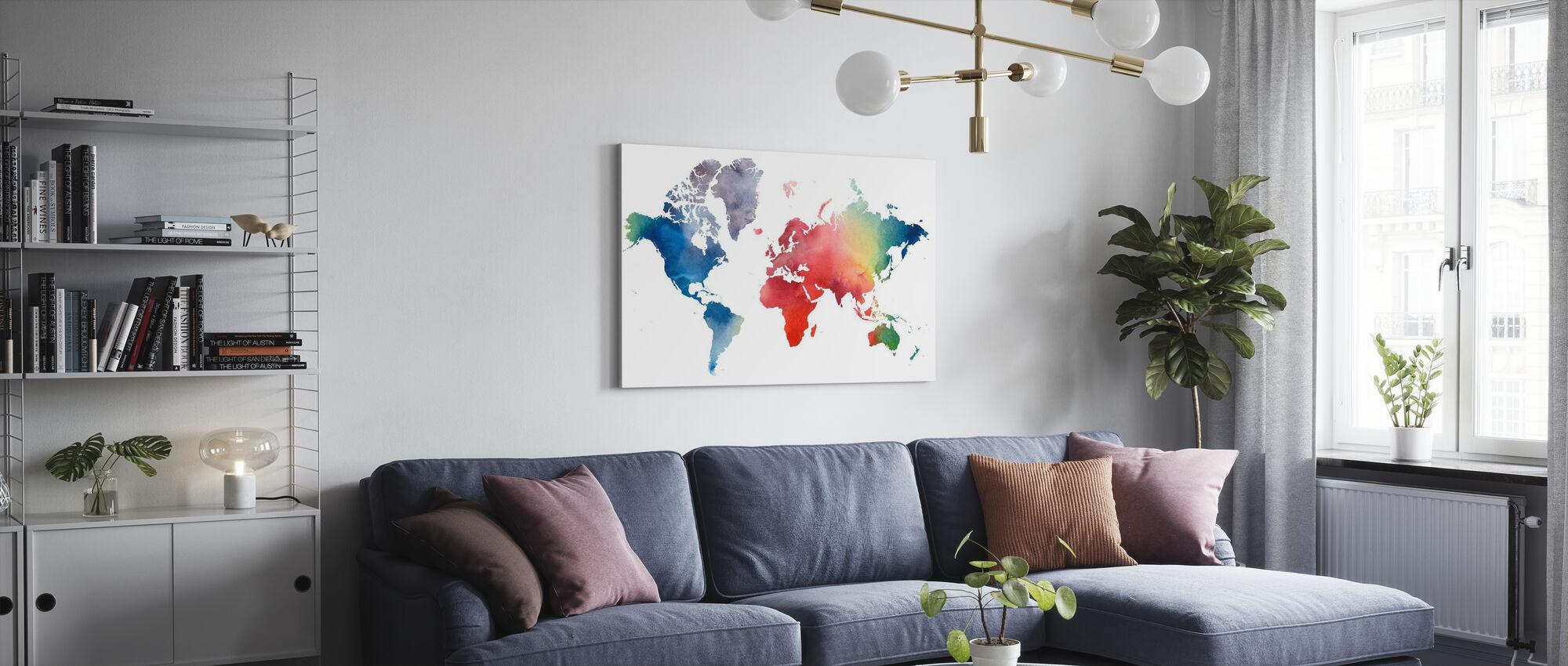 Regenboog Wereld - Canvas print - Woonkamer