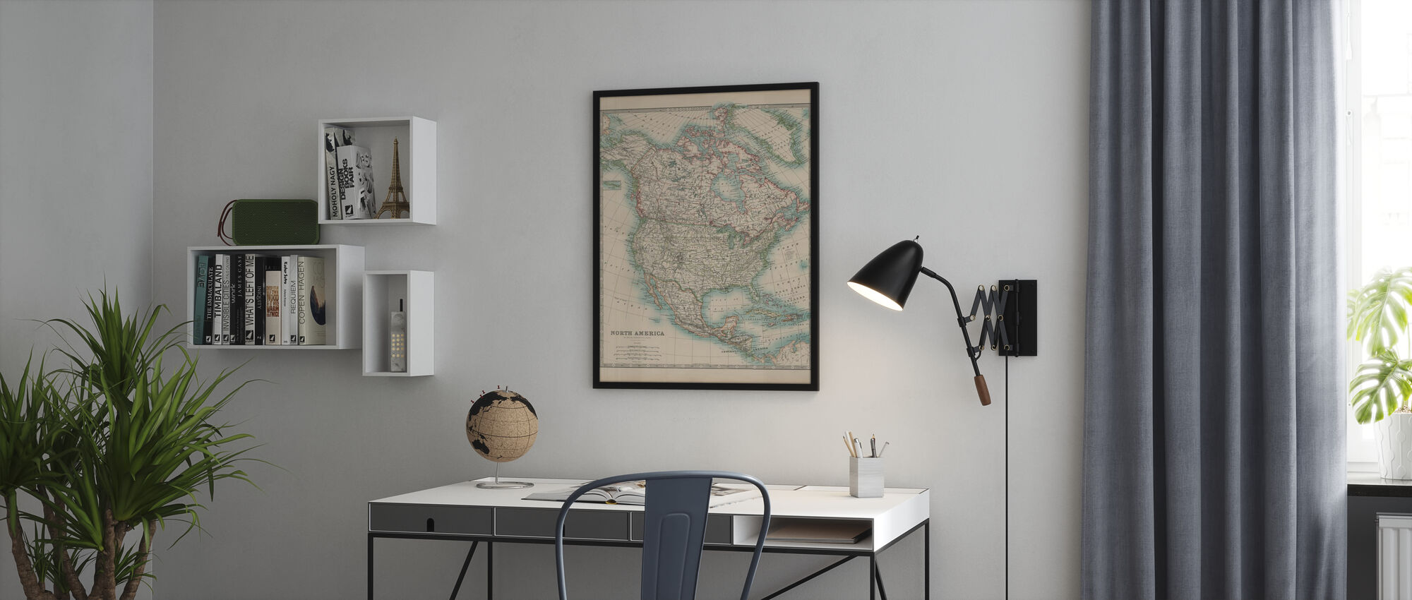 Johnstons Kort over Nordamerika - Plakat - Kontor