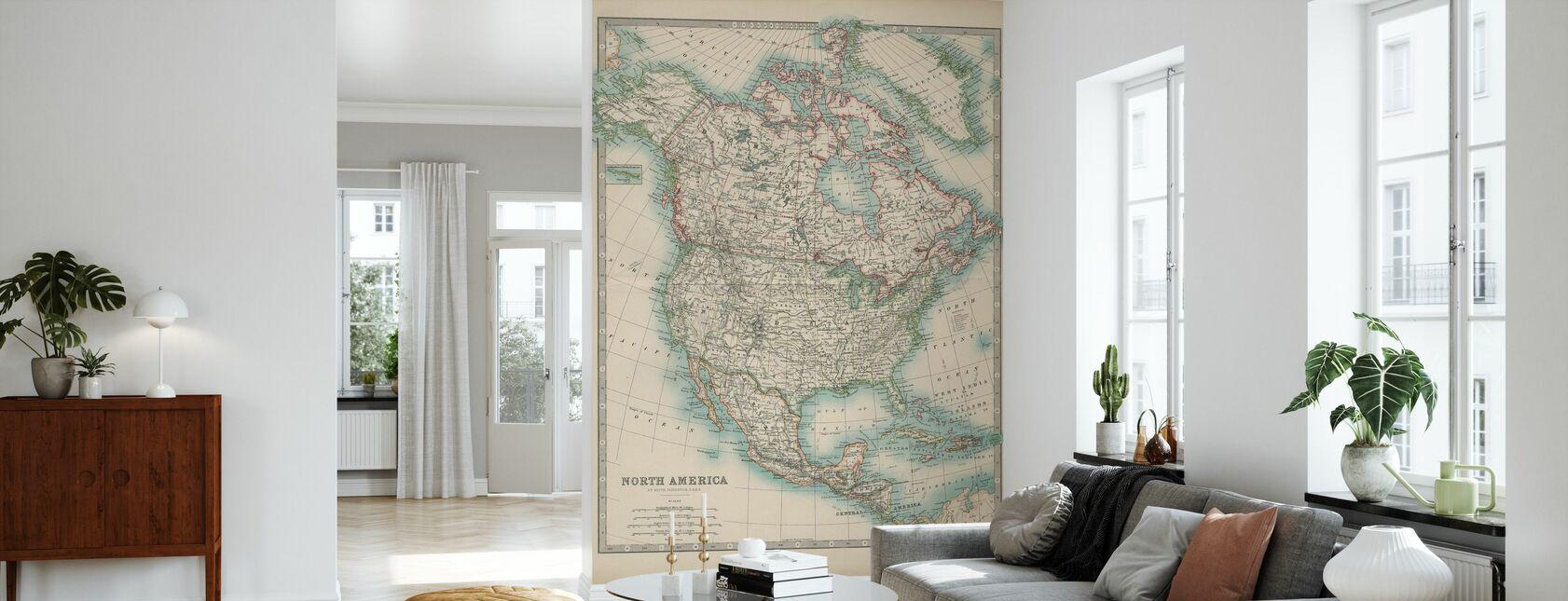 Johnstons Map of North America - Wallpaper - Living Room