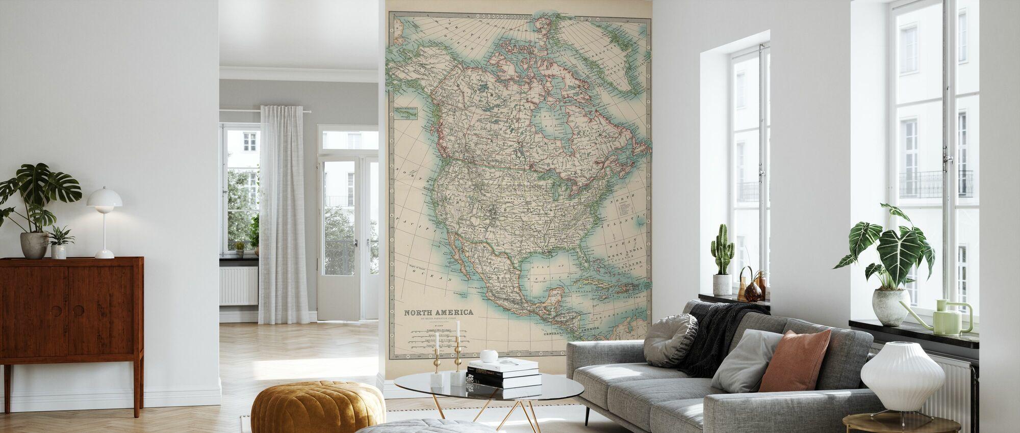 Johnstons Map of North America - Wallpaper - Living Room