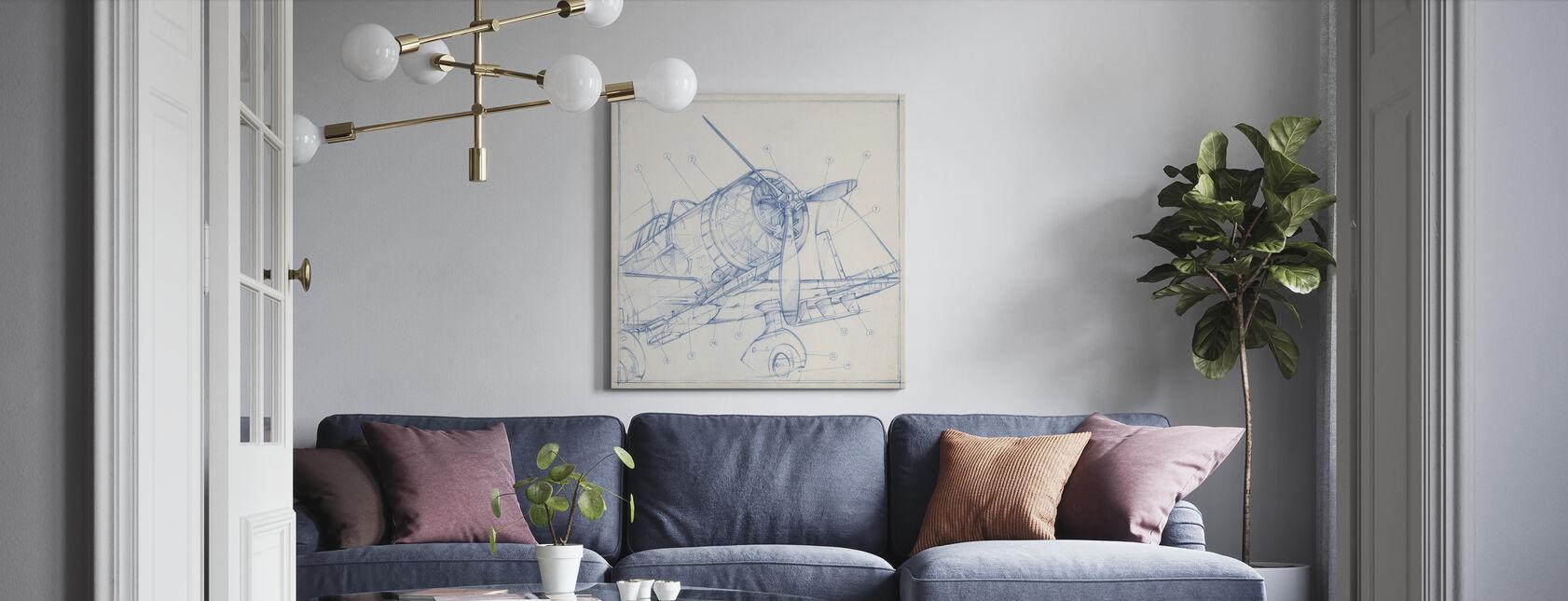 Airplane Mechanical Sketch - Canvas print - Living Room
