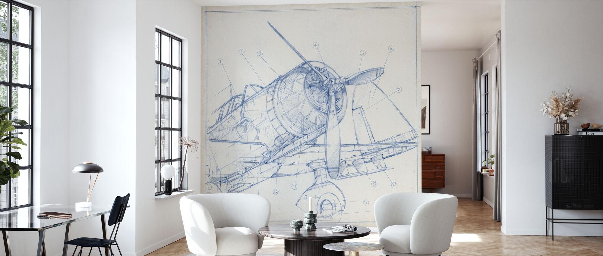 Airplane Mechanical Sketch - Wallpaper - Living Room
