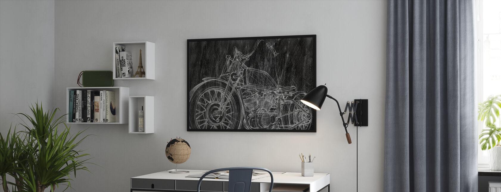 Motorcycle Sketch - Framed print - Office