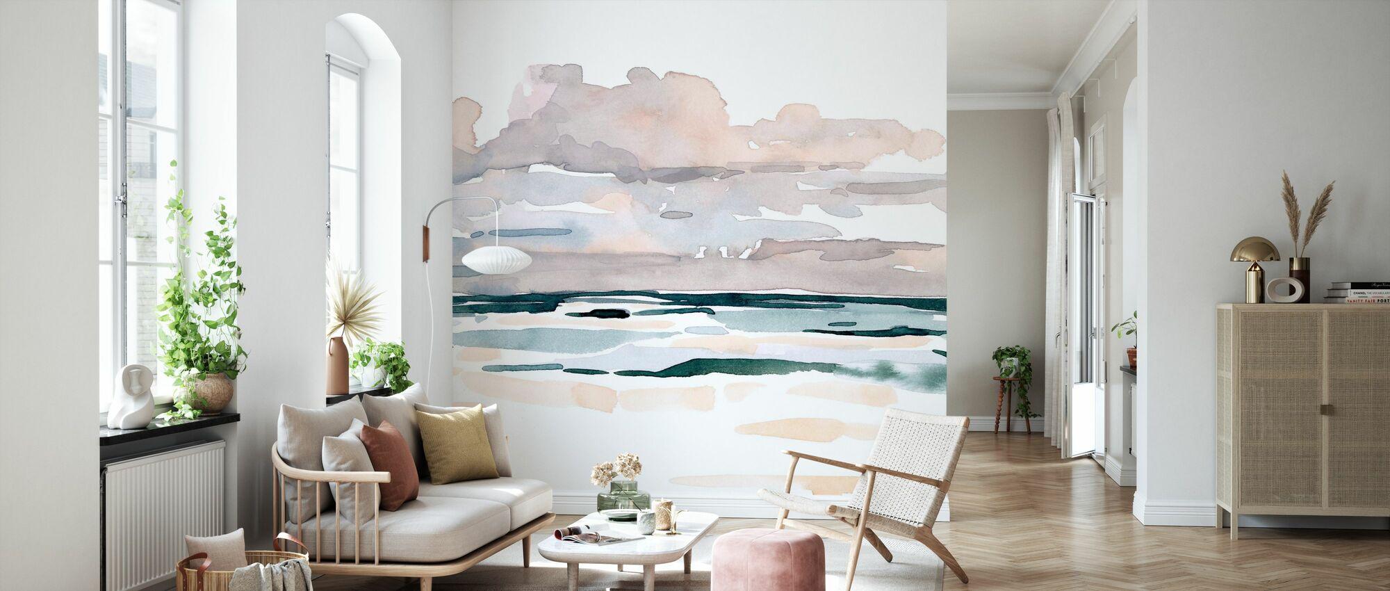 Soft Coastal Abstract - Wallpaper - Living Room