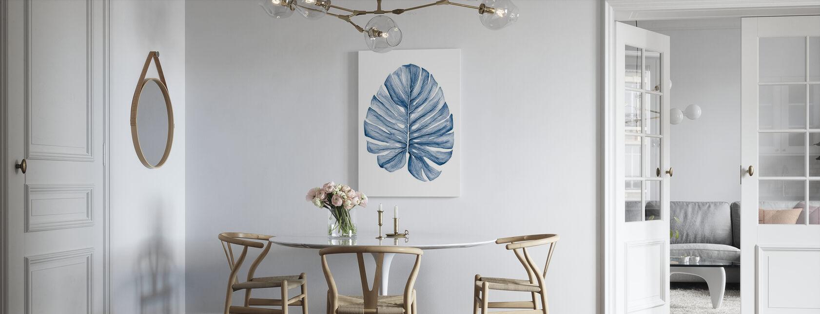 Indigo tropiske blader - Billede på lærred - Køkken