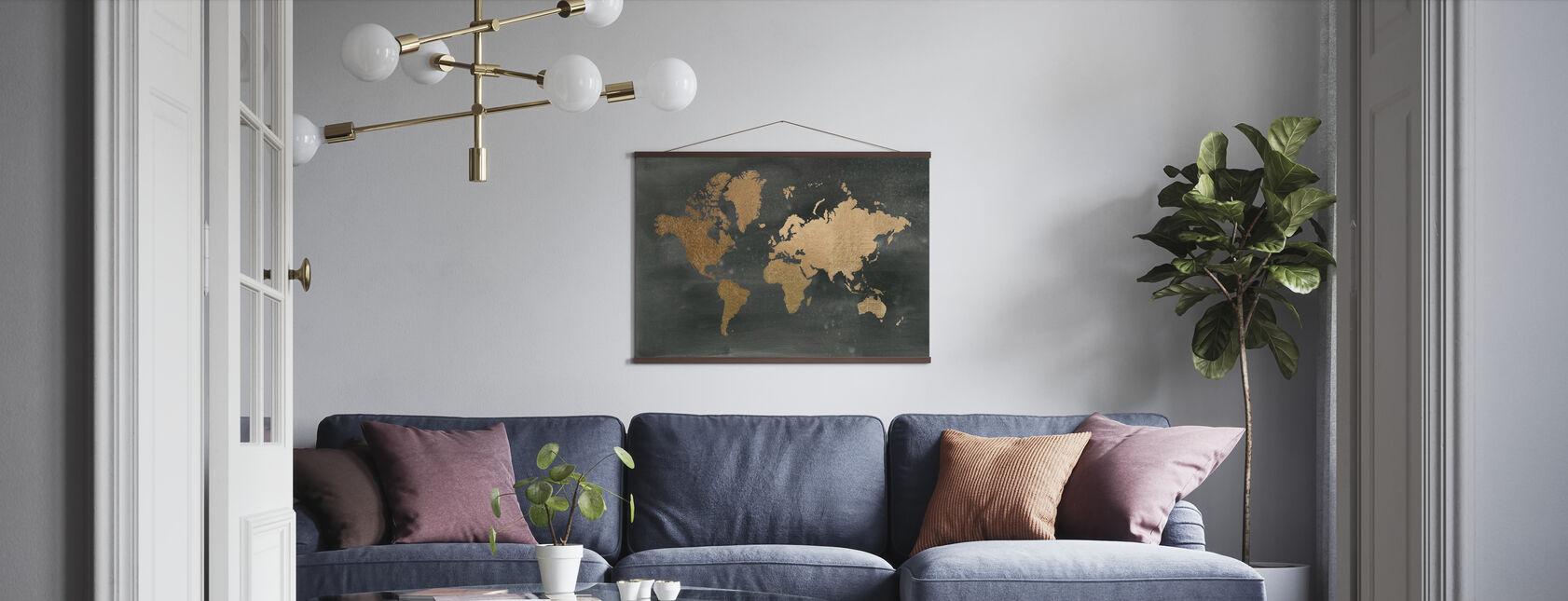 World Map on Black Wash - Poster - Living Room