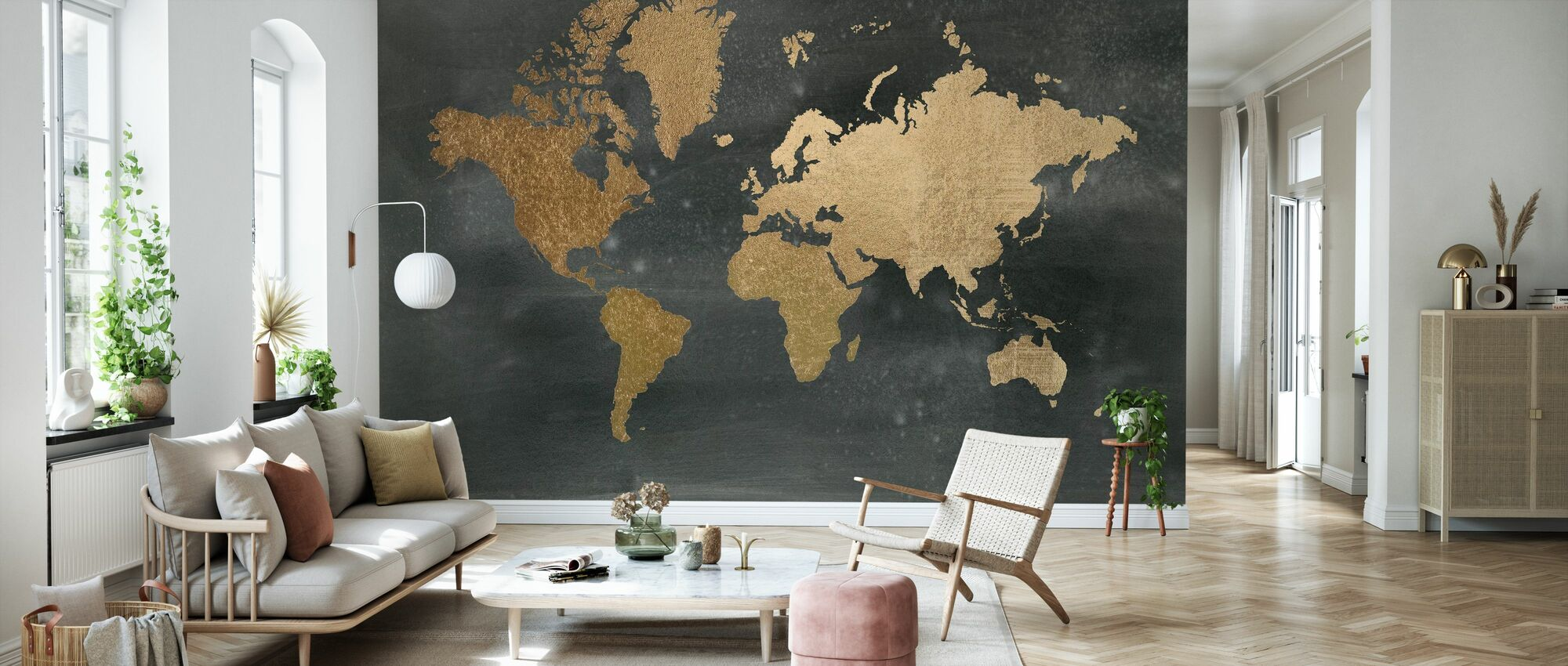 World Map on Black Wash - Wallpaper - Living Room