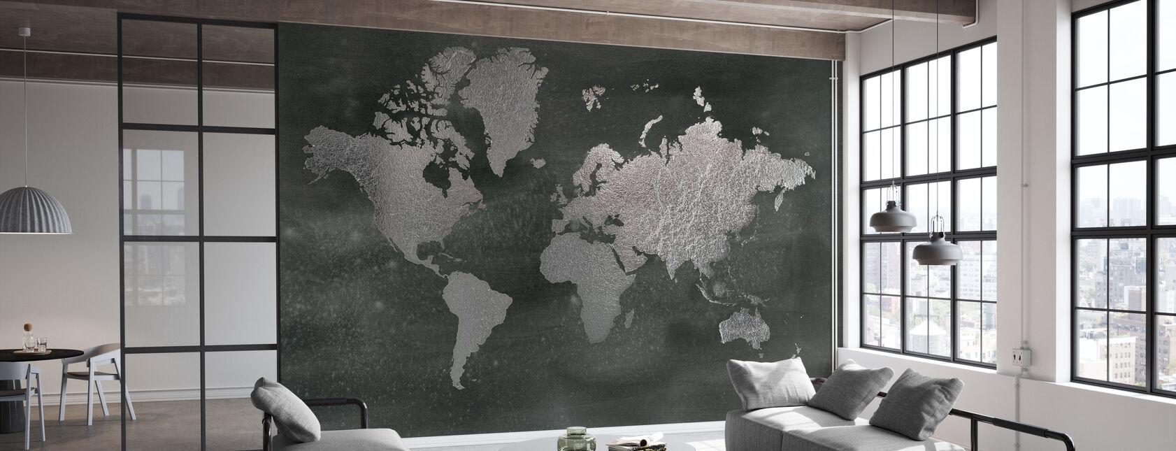 Weltkarte auf Black Wash - Tapete - Büro