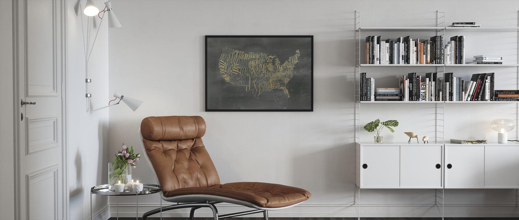 USA Map on Black Wash - Poster - Living Room