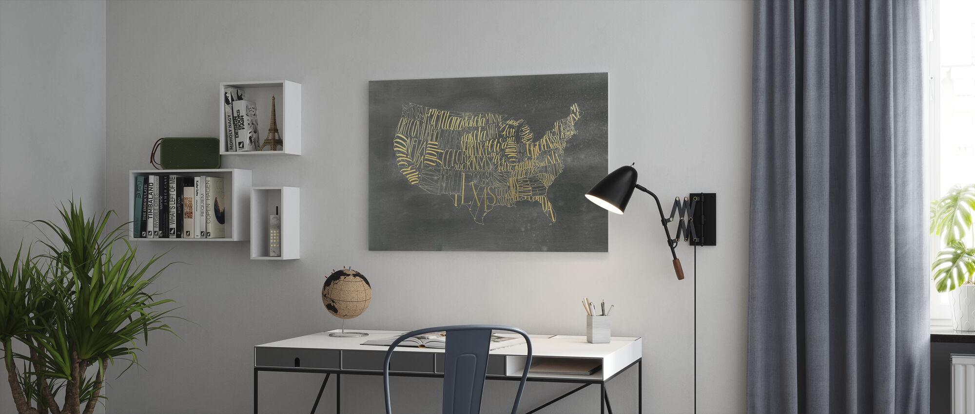 USA Kort på sort vask - Billede på lærred - Kontor