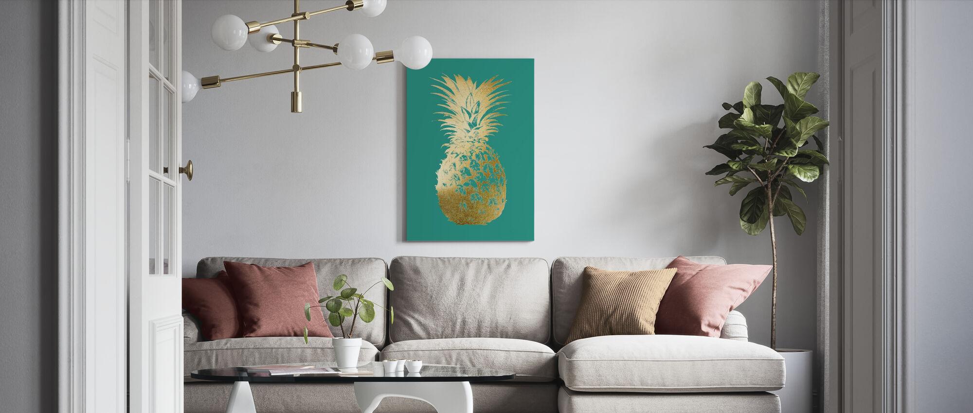 Pineapple on Emerald - Canvas print - Living Room