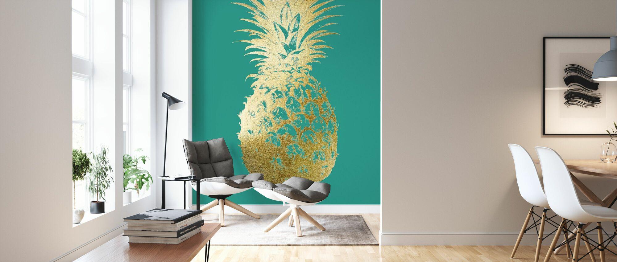 Ananas op smaragd - Behang - Woonkamer
