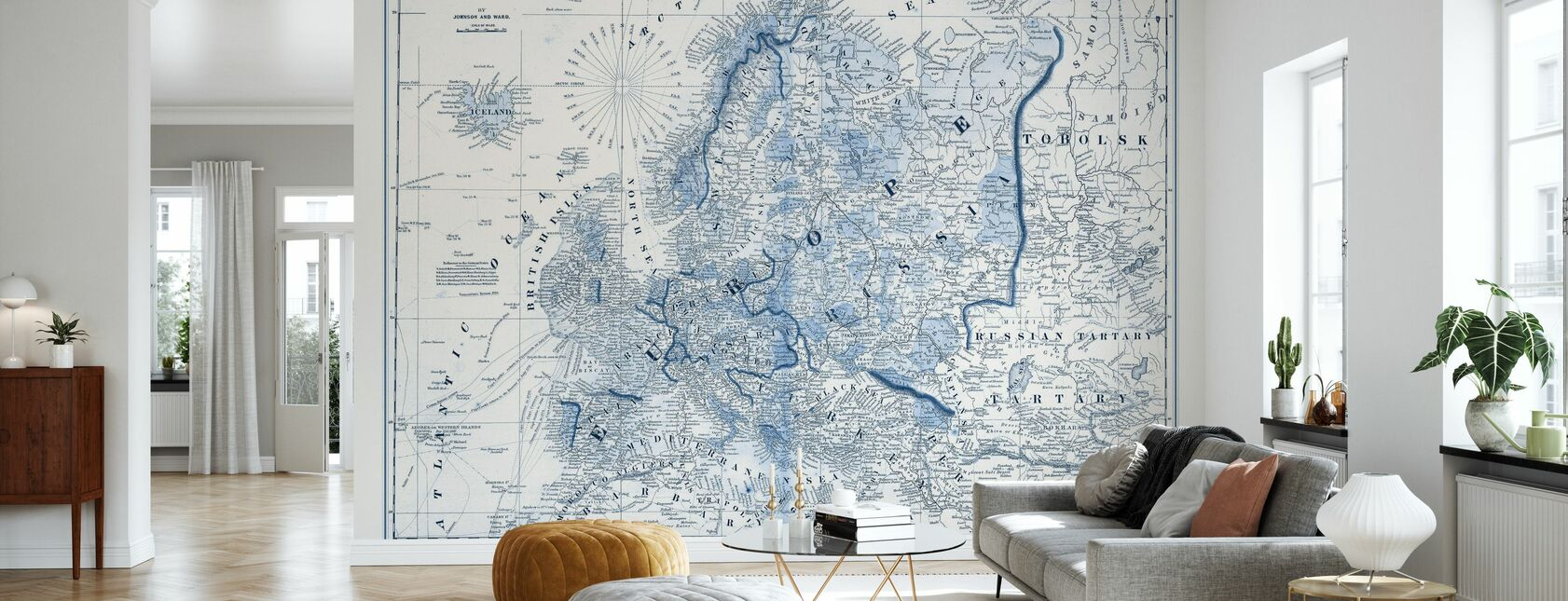 Europe in Shades of Blue - Wallpaper - Living Room