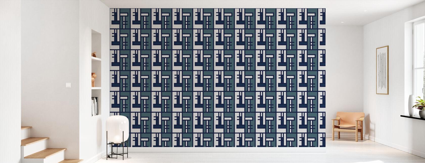 Blue Brick - Wallpaper - Hallway