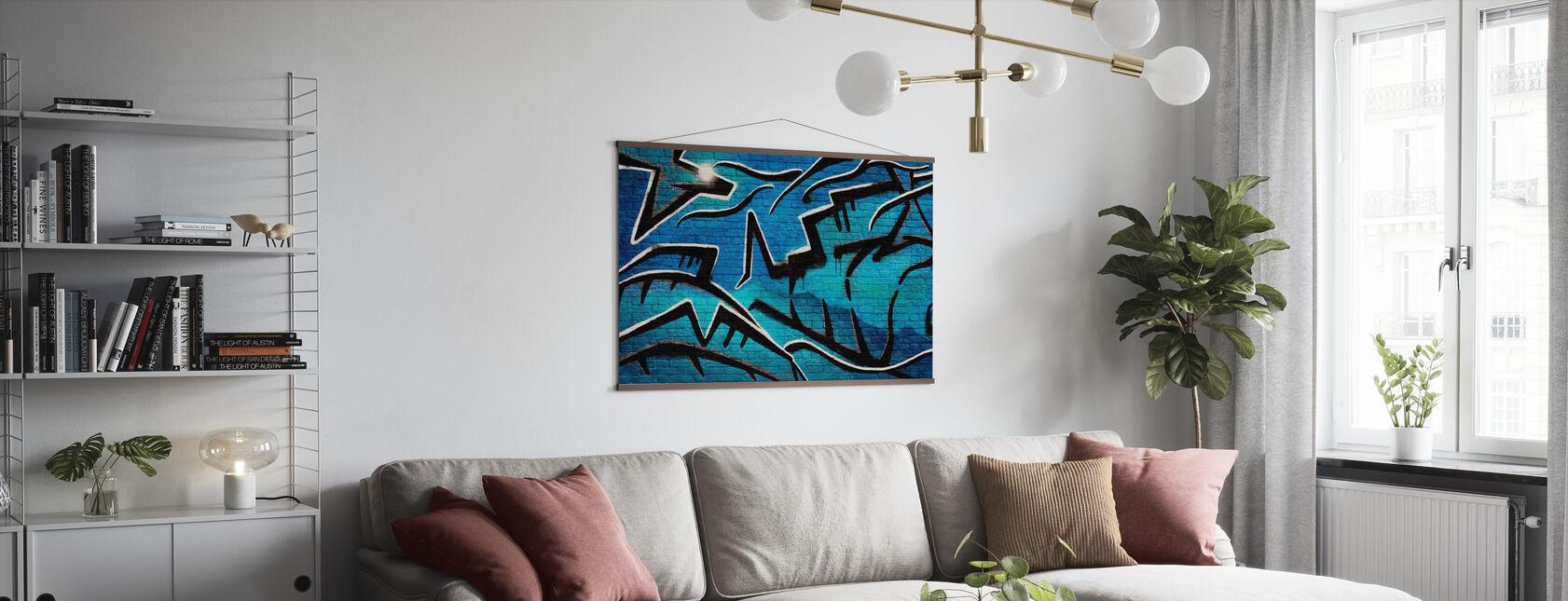 Tegelvägg Graffiti - Blå - Poster - Vardagsrum
