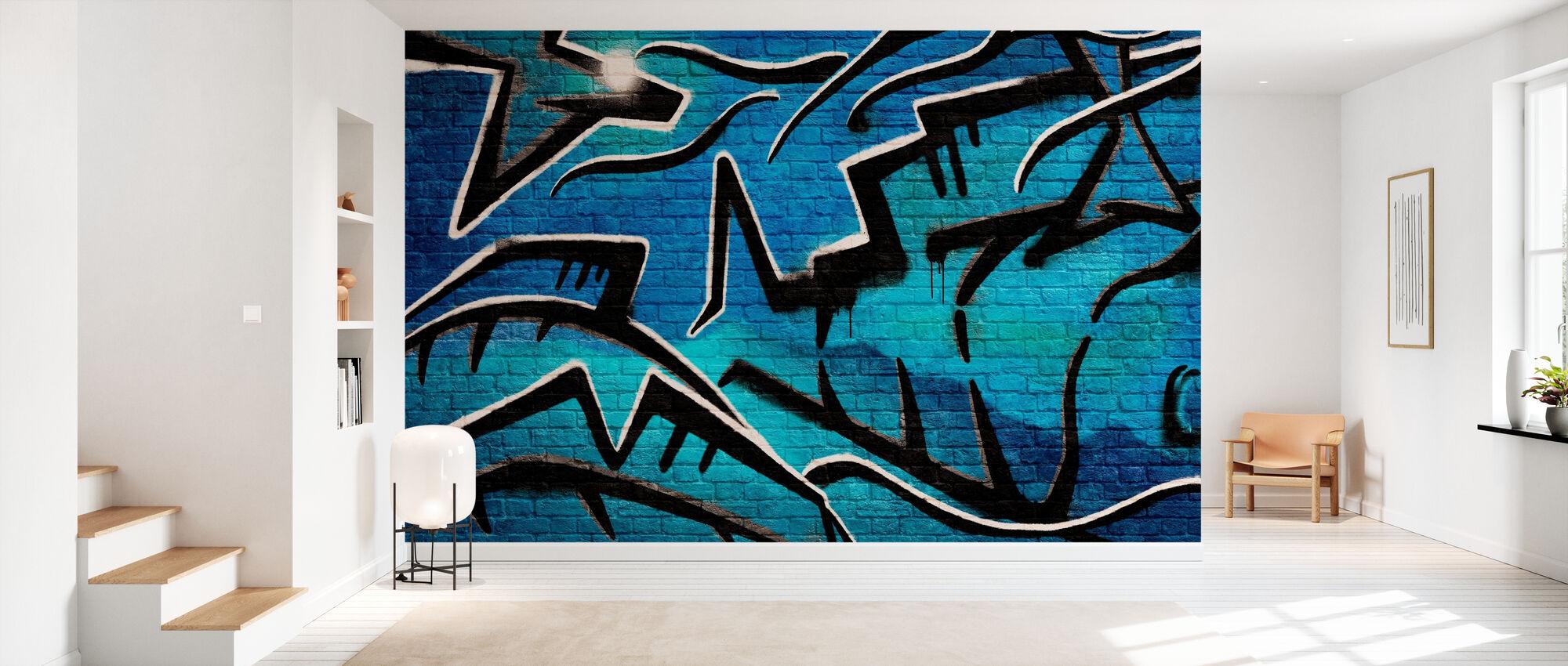 Brick Wall Graffiti - Blau - Tapete - Flur
