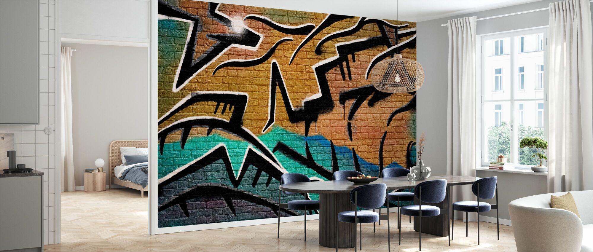 Murvegg Graffiti - Brun - Tapet - Kjøkken