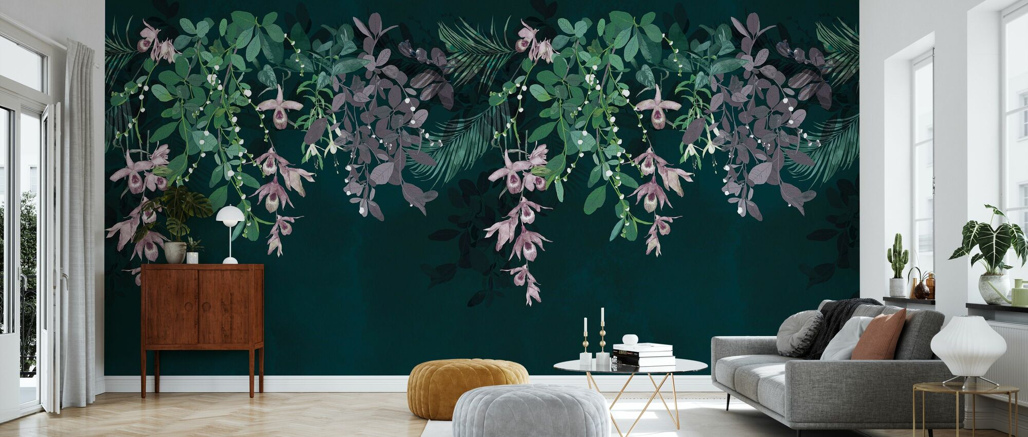 Hanging Tropical Flowers - Wallpaper - Living Room