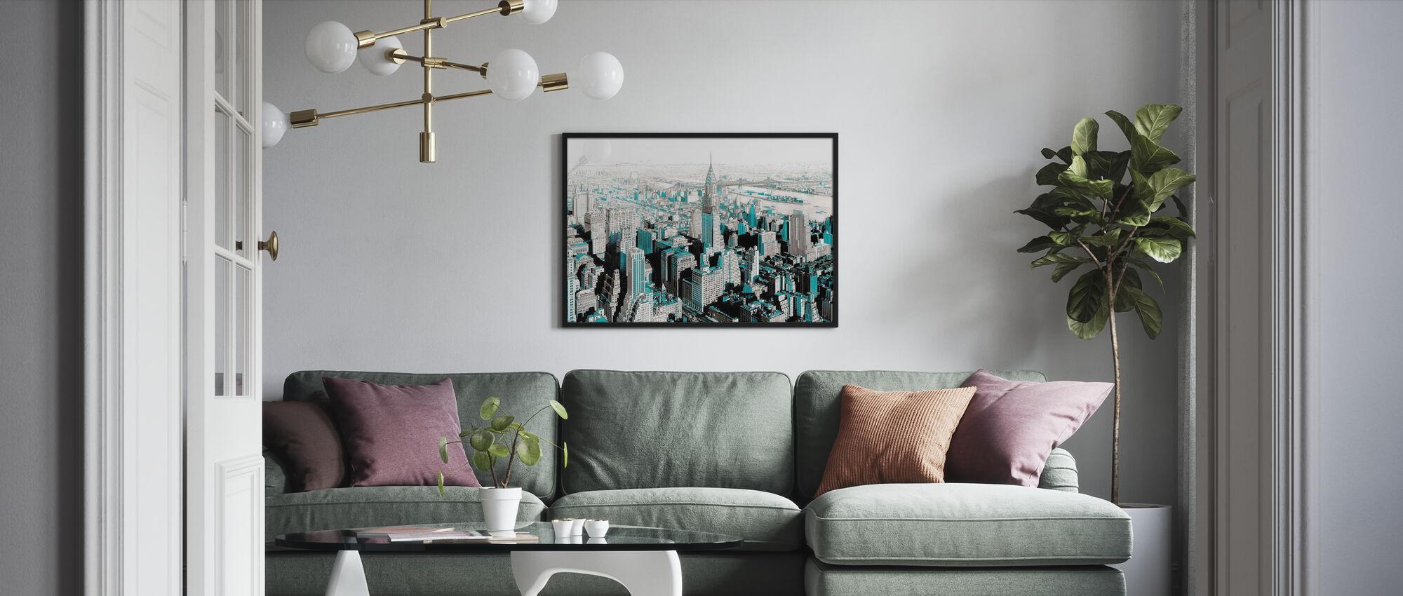New York City Skizze - Colorspash - Poster - Wohnzimmer