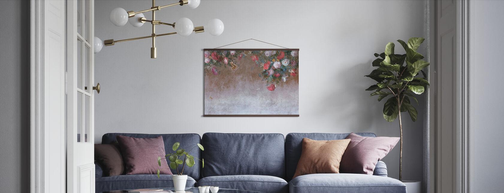 Blomst Grunge væg - Plakat - Stue